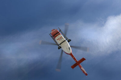 Eurocopter 135 in flight, photographed fro below