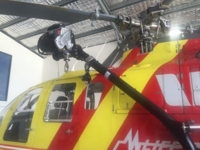 The BO105 hoist arm.