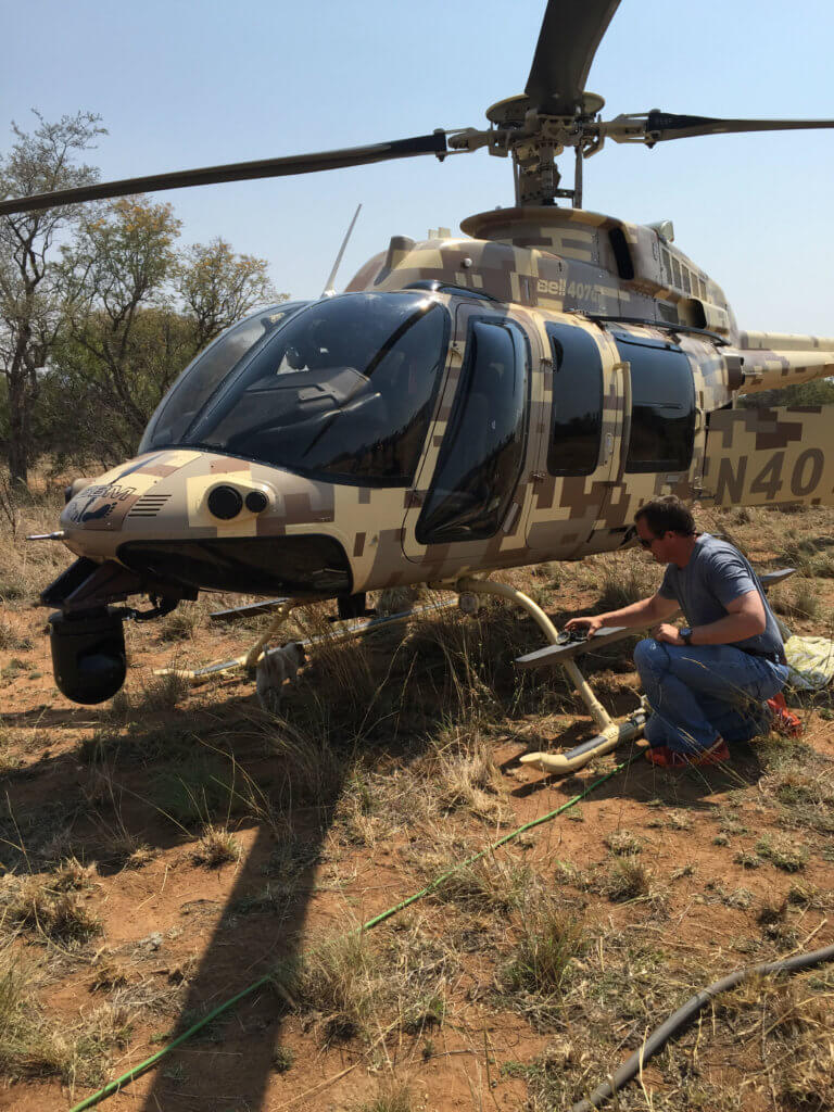 Image result for Bell 407GT Helicopter used to tackle Rhino Poachers in South Africa